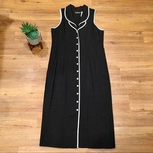 Sag Harbor Sleeveless Black Button Down Maxi Dress